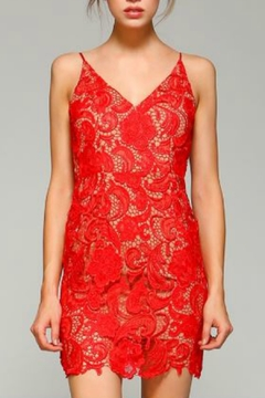 Minuet Red Flower Lace Short Formal Dress - Product List Image