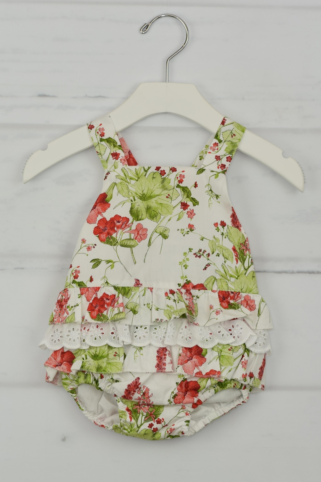 Granlei 1980 Red Flower Romper - Front Cropped Image