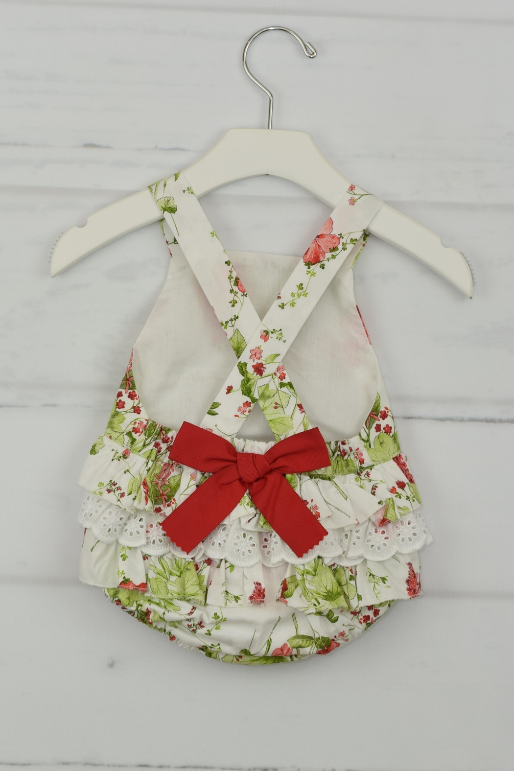 Granlei 1980 Red Flower Romper - Front Full Image