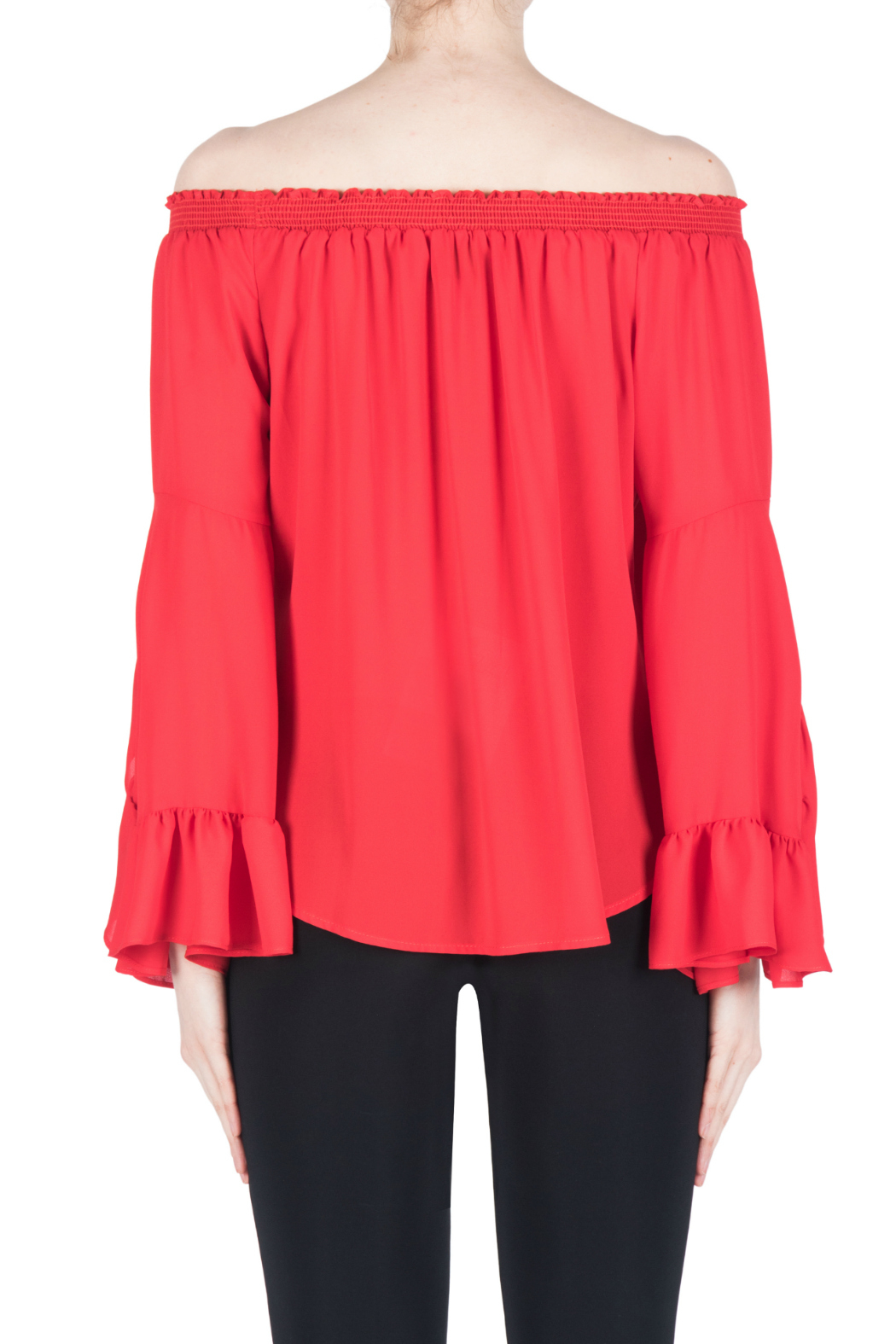 Joseph Ribkoff Red Flutter Sleeve Blouse - Side Cropped Image