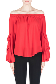 Joseph Ribkoff Red Flutter Sleeve Blouse - Front cropped