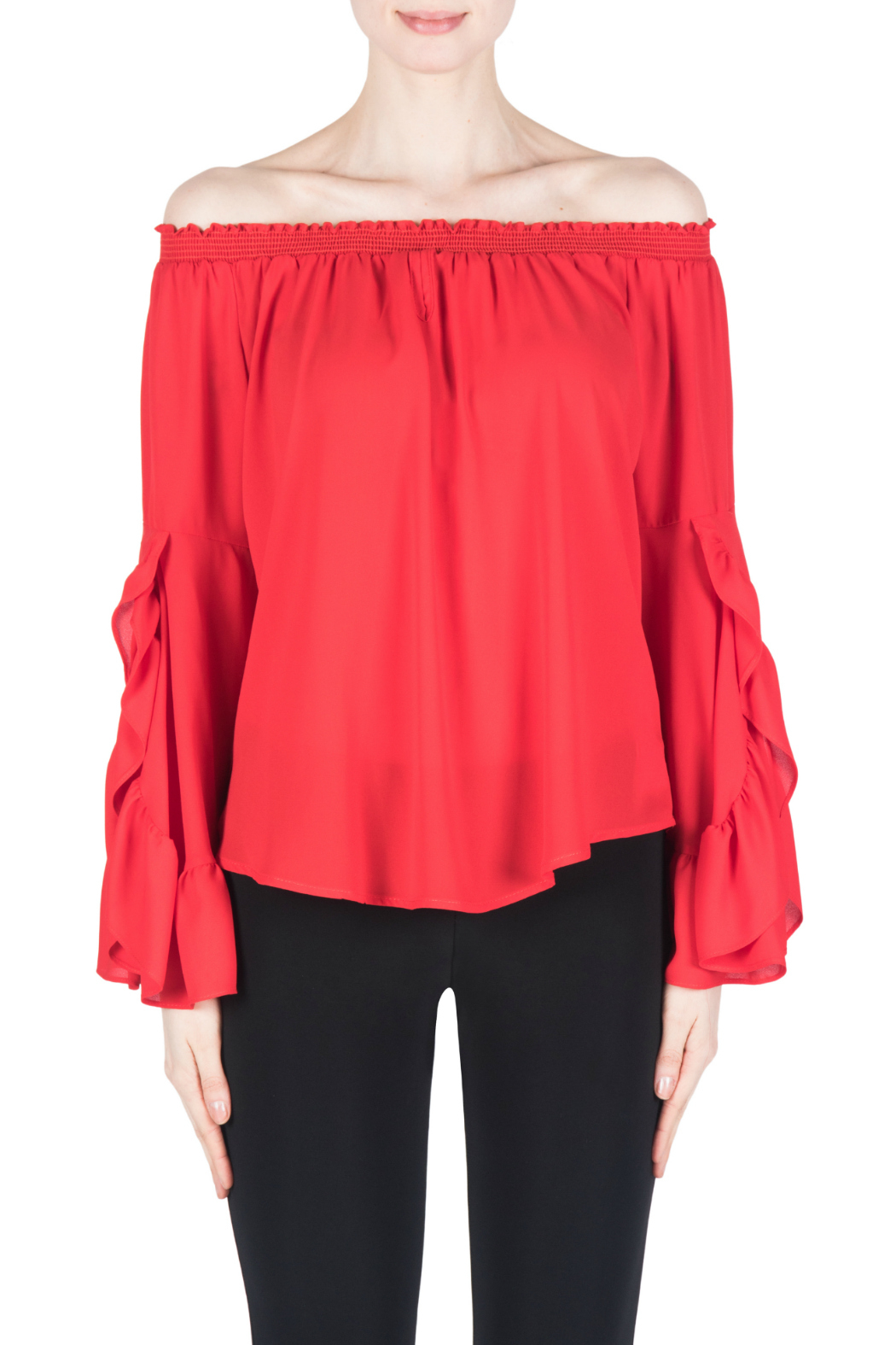 Joseph Ribkoff Red Flutter Sleeve Blouse - Front Cropped Image