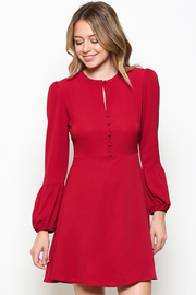 Esley Red Front Button Dress with Keyhole - Product Mini Image