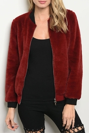 Honey Punch Red Fur Bomber - Product Mini Image