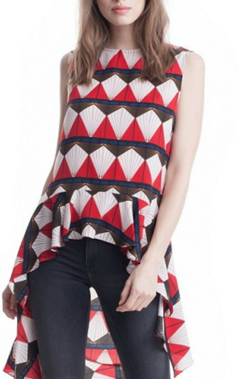 Symphony Red Geometric Tunic - Main Image