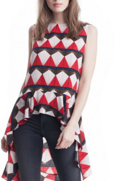 Shoptiques Product: Red Geometric Tunic