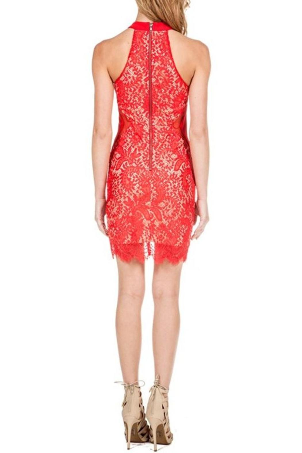 Red Halter Lace-Dress — Shoptiques
