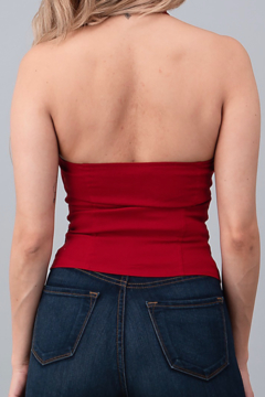 Oh yes Fashion Red Halter Top with White Ribbon Bow - Alternate List Image
