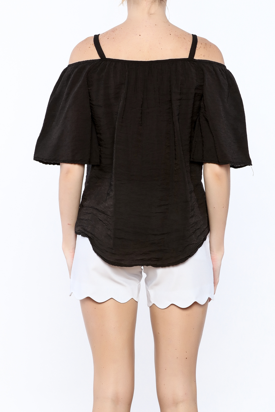 Red Haute Black Loose Top - Back Cropped Image