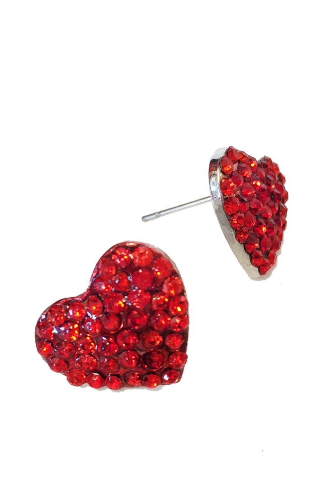 Glam Squad Shop Red Heart Earrings  Front Cropped Image