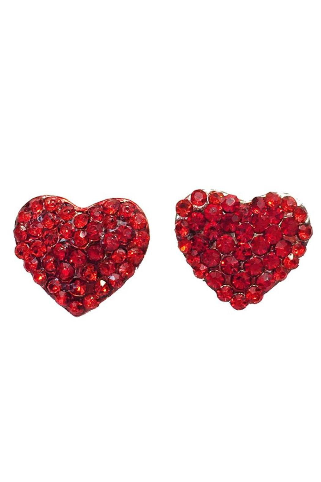 Glam Squad Shop Red Heart Earrings  Front Full Image