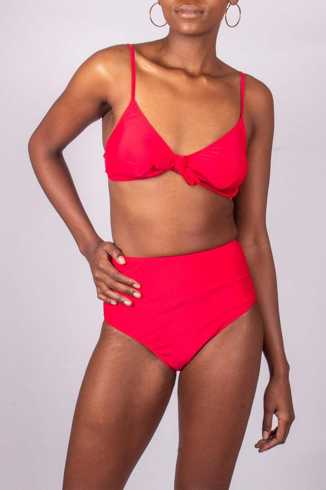 beach joy Red High-Waisted Bikini - Front Cropped Image