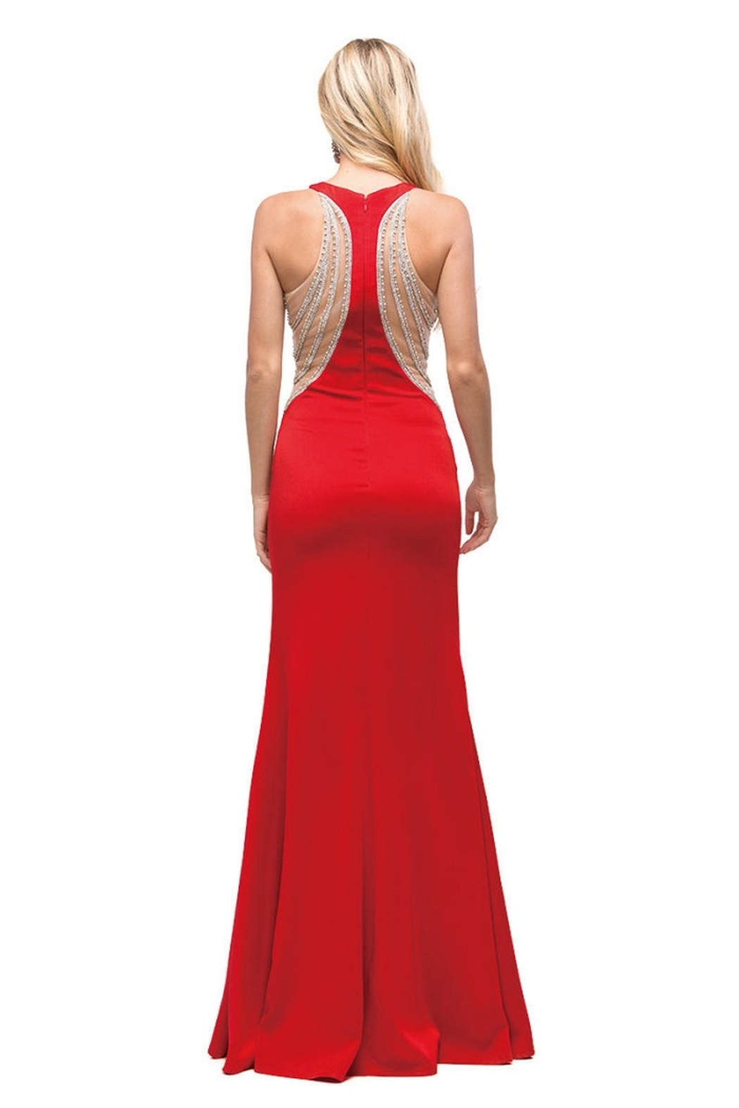 DANCING QUEEN Red Illusion Long Formal Dress - Front Full Image
