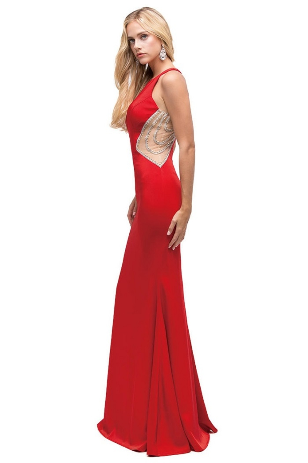 DANCING QUEEN Red Illusion Long Formal Dress - Side Cropped Image