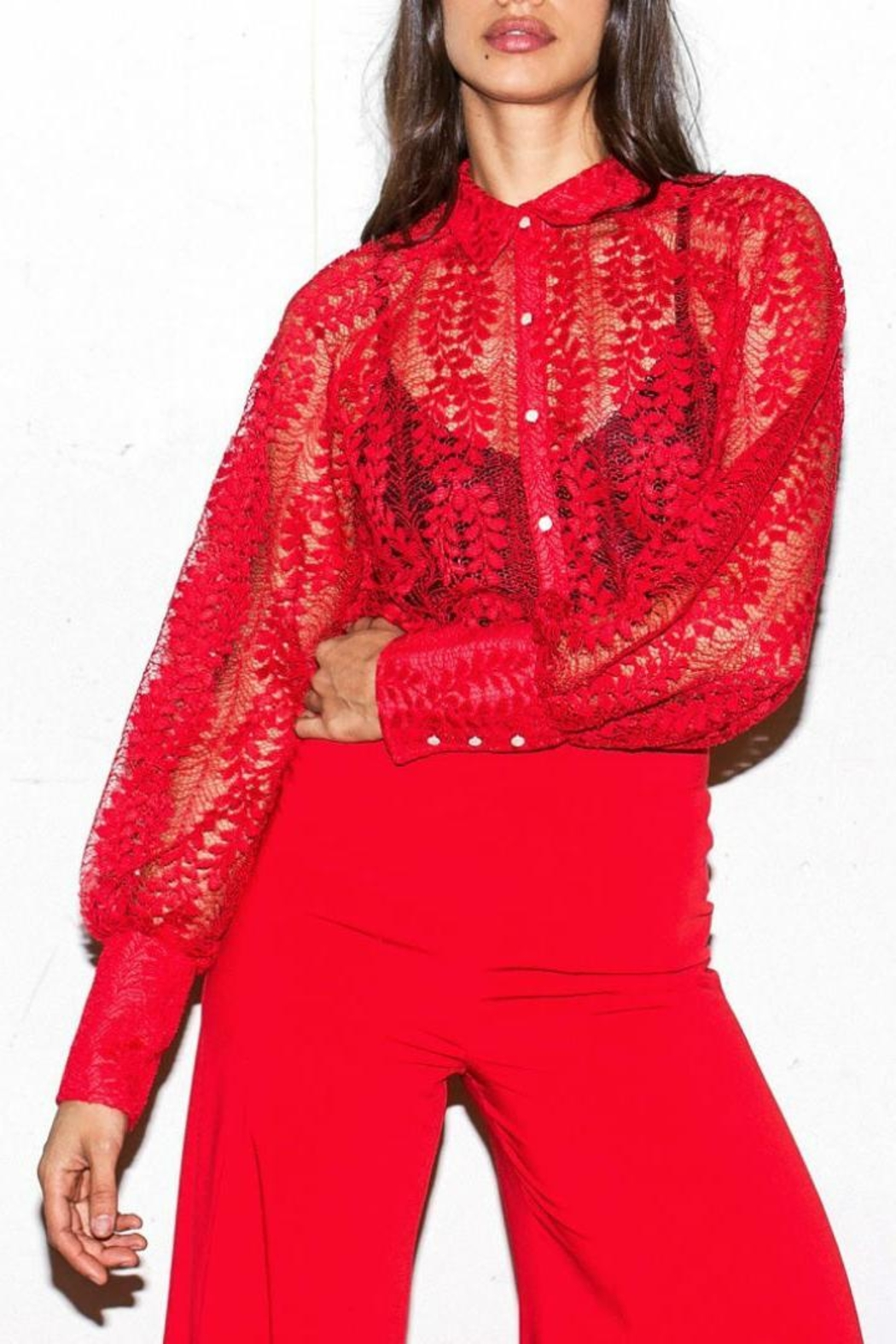 9afc189bc4b5aa Jealous Tomato Red Lace Blouse from Brooklyn by Glam Expressway ...