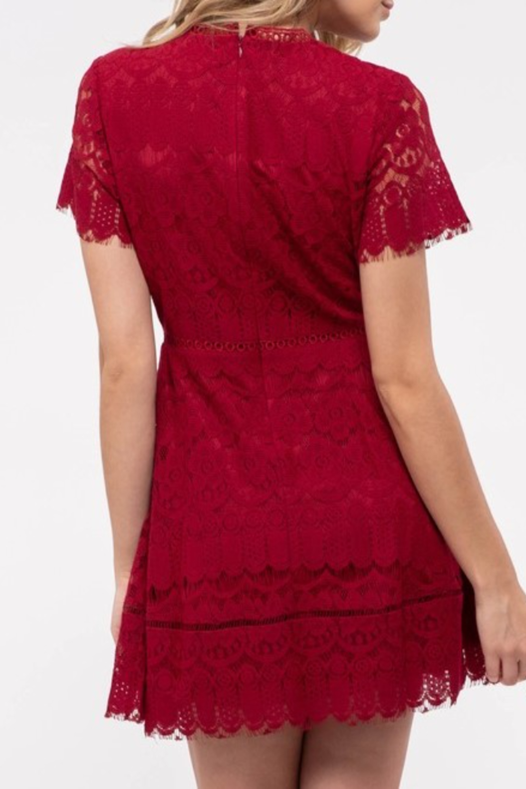 blu Pepper  Red lace dress with short sleeves and fitted body - Front Full Image