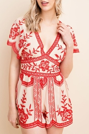 Honey Punch Red Lace Romper - Product Mini Image