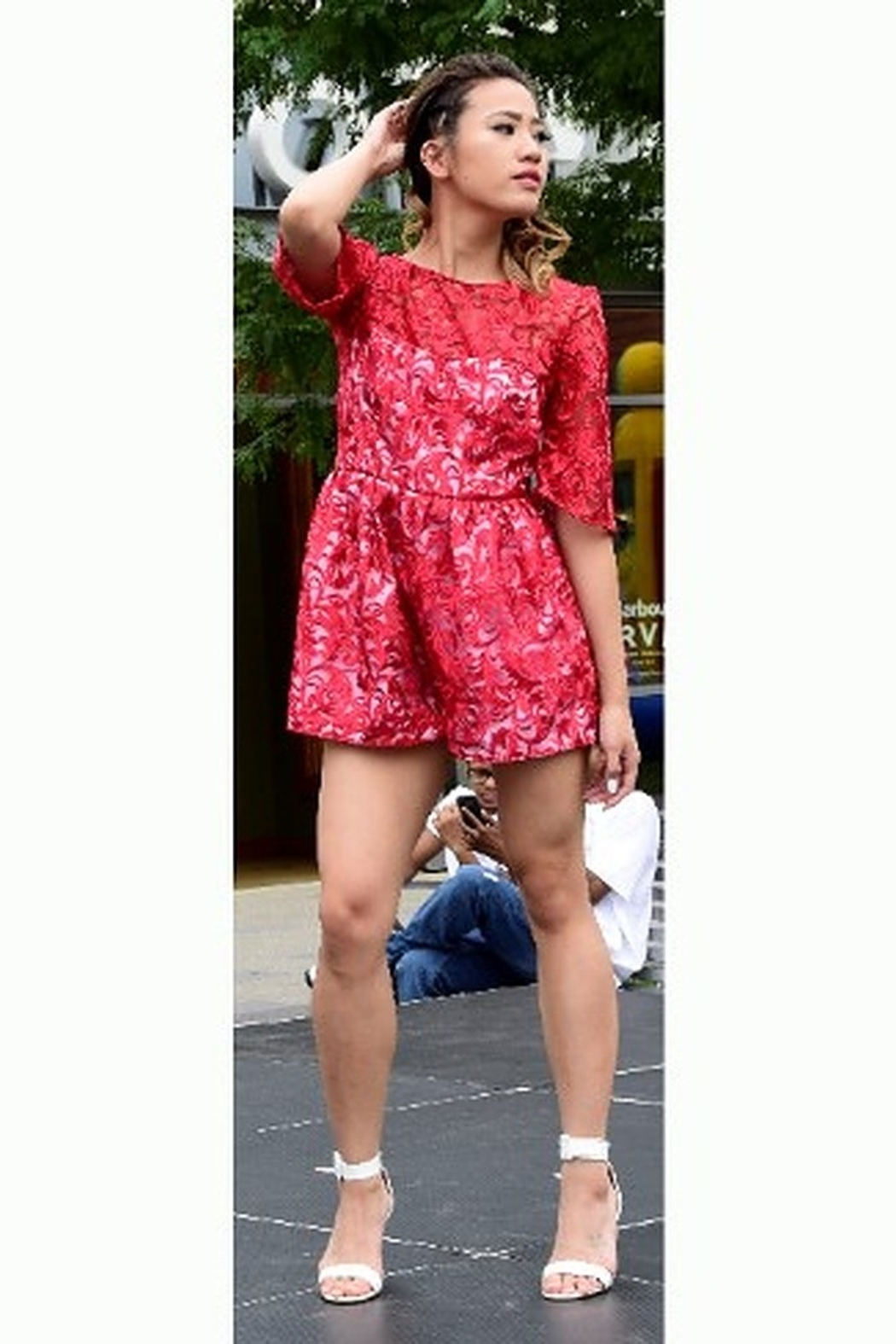 Tiny House of Fashion Red Lace Romper - Main Image