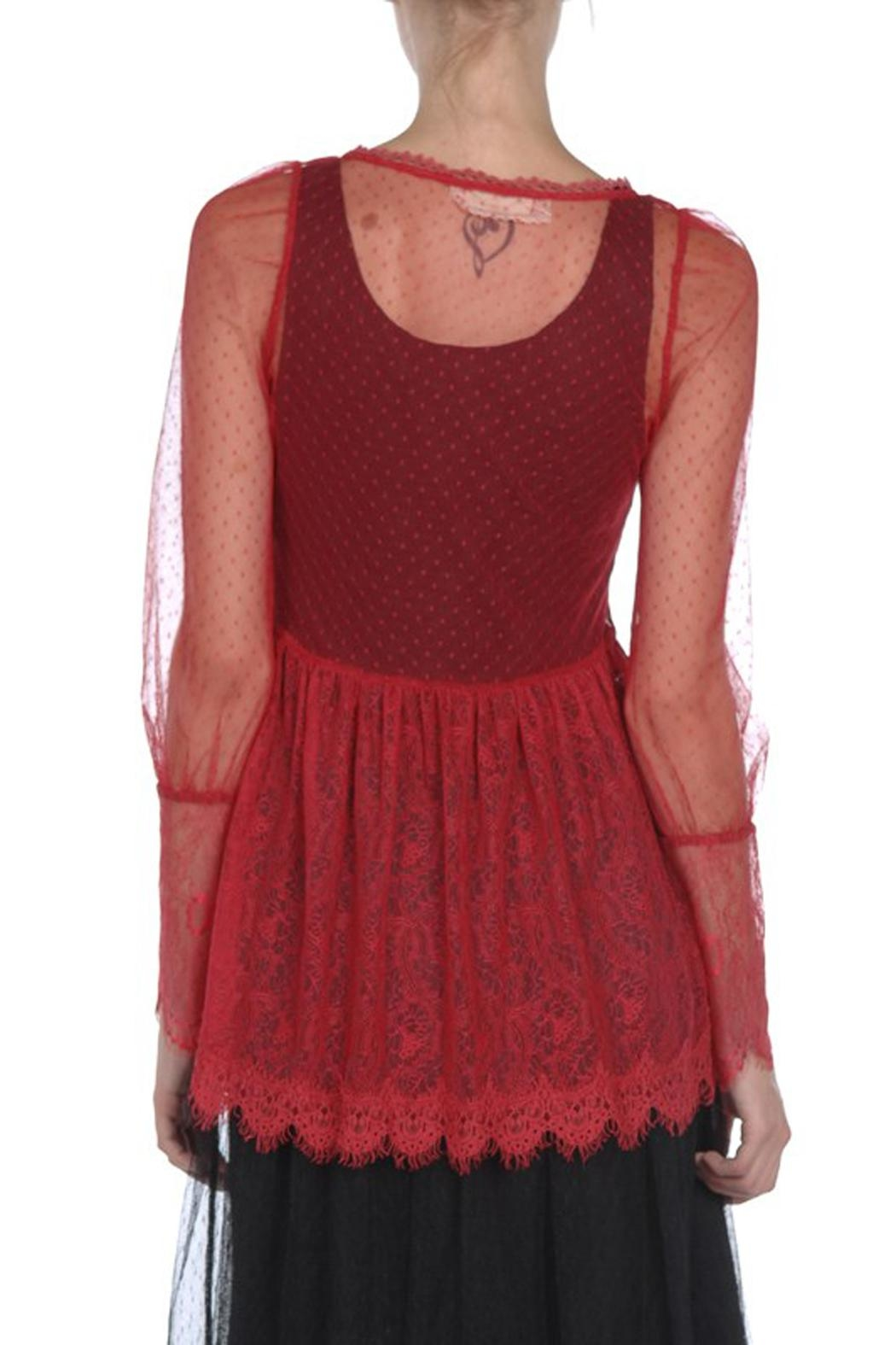 The Vintage Valet Red Lace Top - Front Full Image