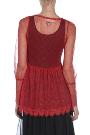 The Vintage Valet Red Lace Top - Front full body