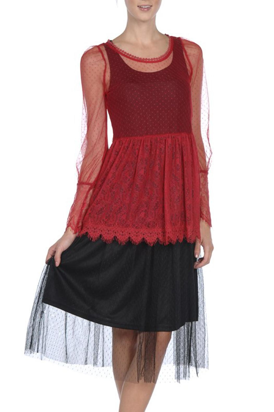 The Vintage Valet Red Lace Top - Main Image