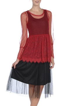 The Vintage Valet Red Lace Top - Product List Image