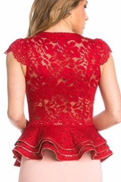 Oh yes Fashion Red Lace Triple Peplum Cap-Sleeve Top - Alternate List Image