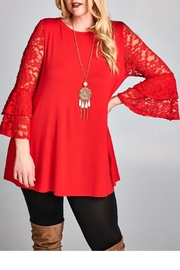 EMERALD COLLECTION Red Lace Tunic - Product Mini Image