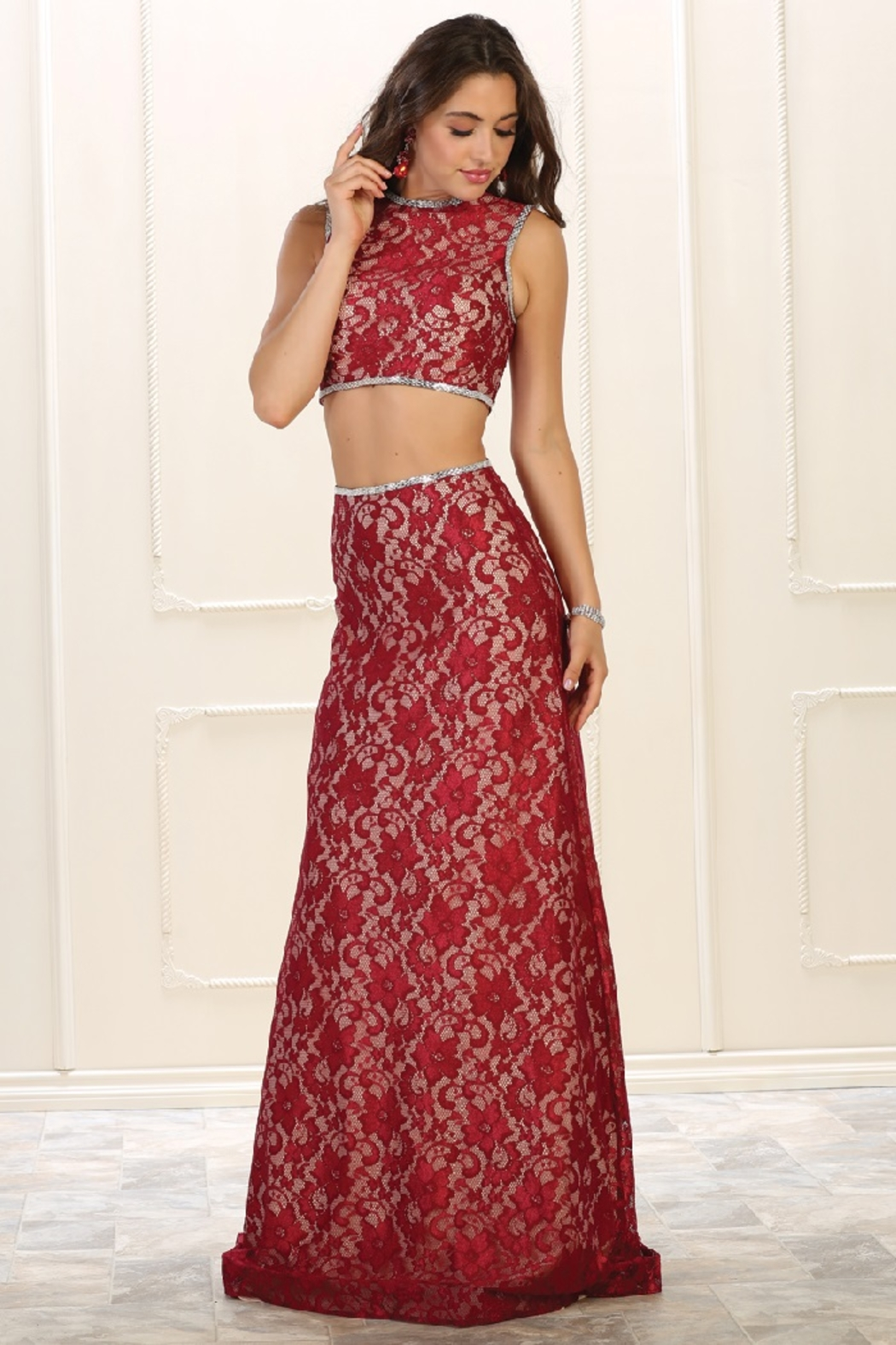 May Queen  Red Lace Two Piece Formal Long Dress - Main Image
