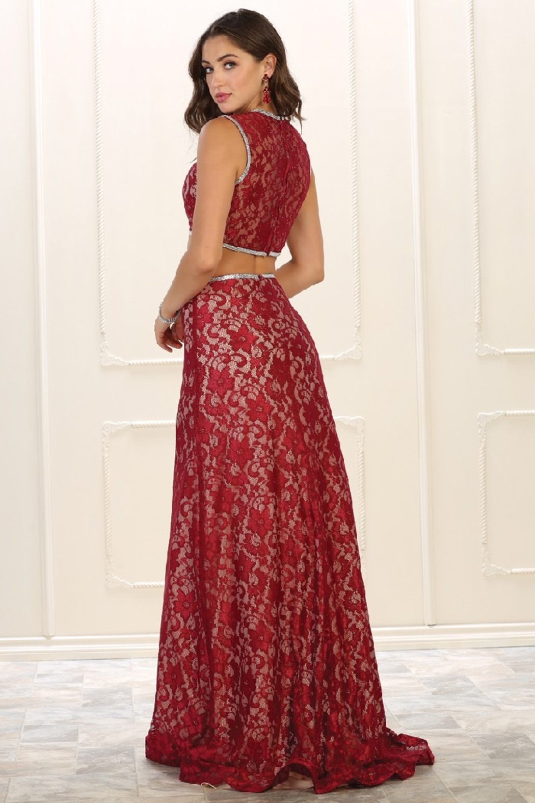 May Queen  Red Lace Two Piece Formal Long Dress - Front Full Image