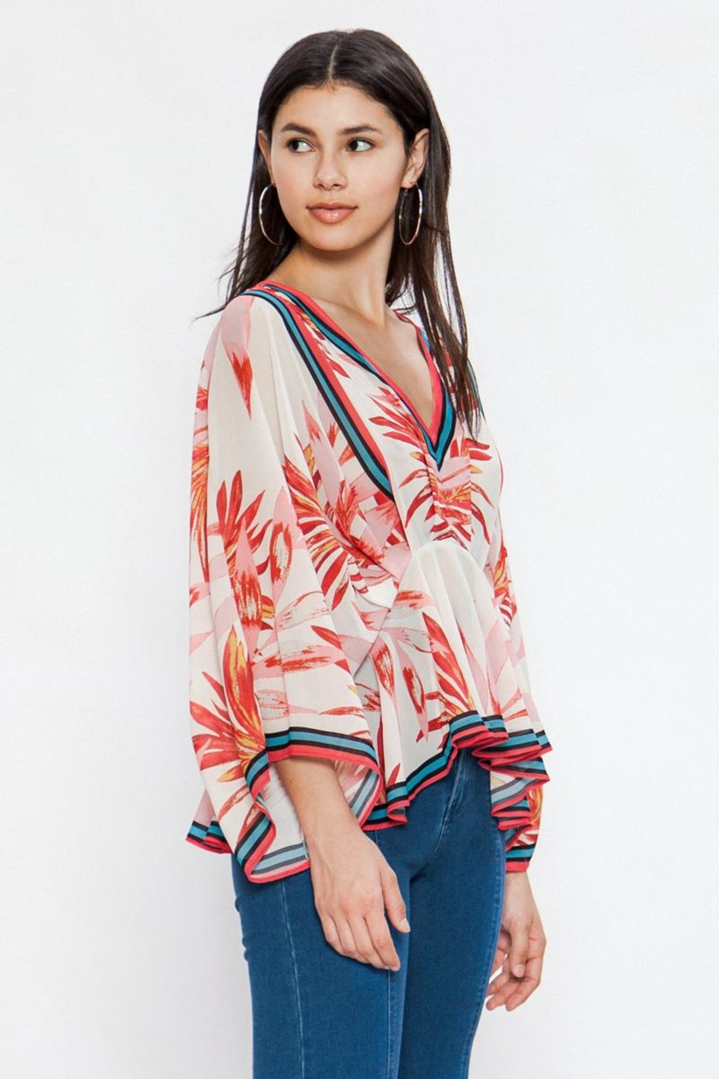 Flying Tomato Red Leaf Blouse - Front Full Image