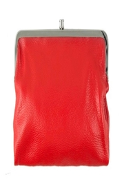 ICCO Red Leather Clutch - Front cropped