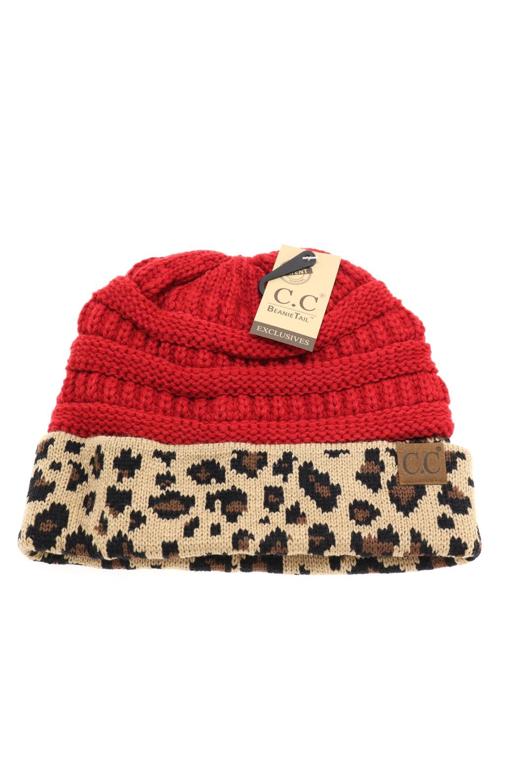 a67ae1986a4b1 C.C Beanie Red-Leopard Ponytail bun Beanie from Texas by Pickles and ...