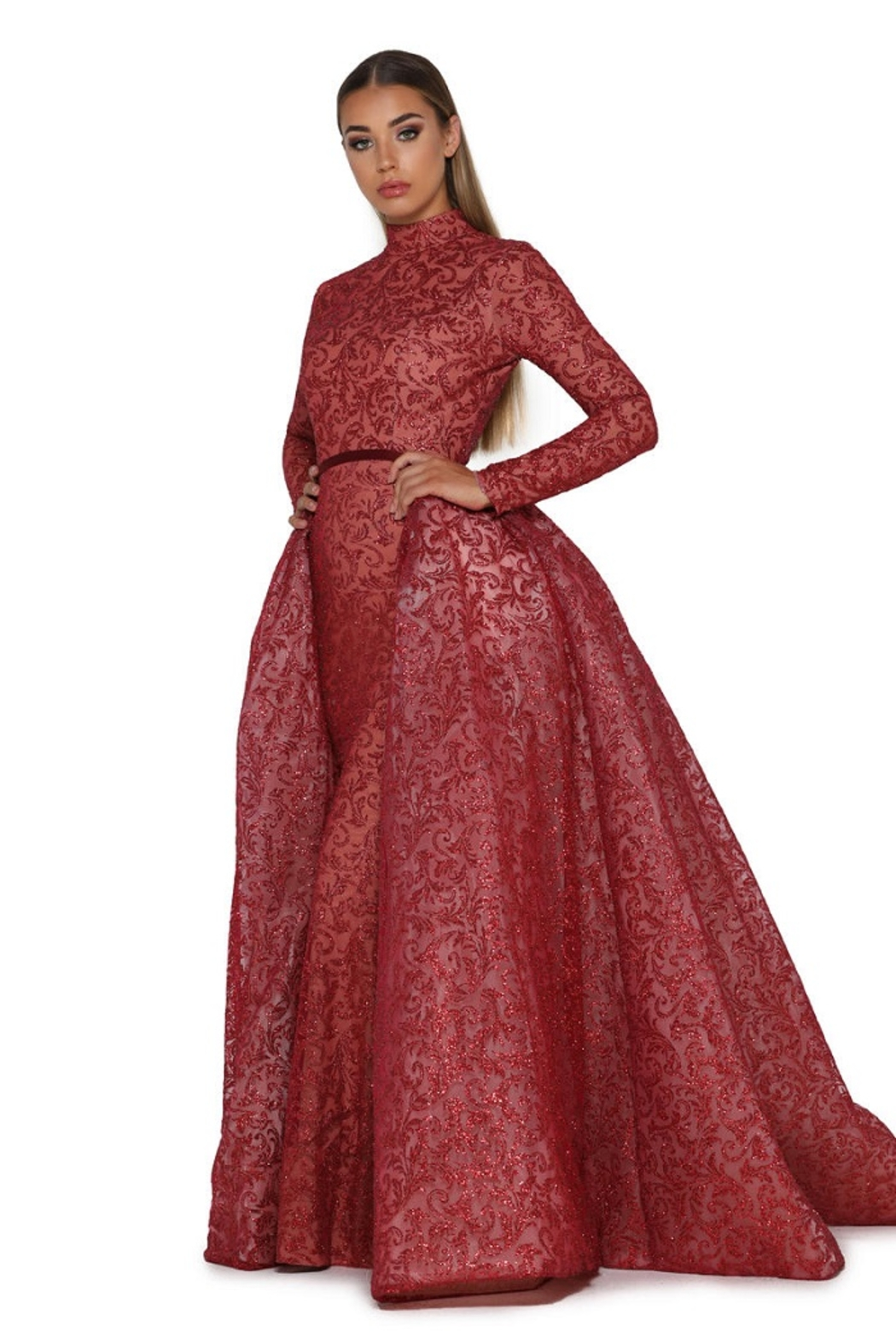PORTIA AND SCARLETT Red Long Sleeve Glitter Long Formal Dress With Detachable Train - Main Image