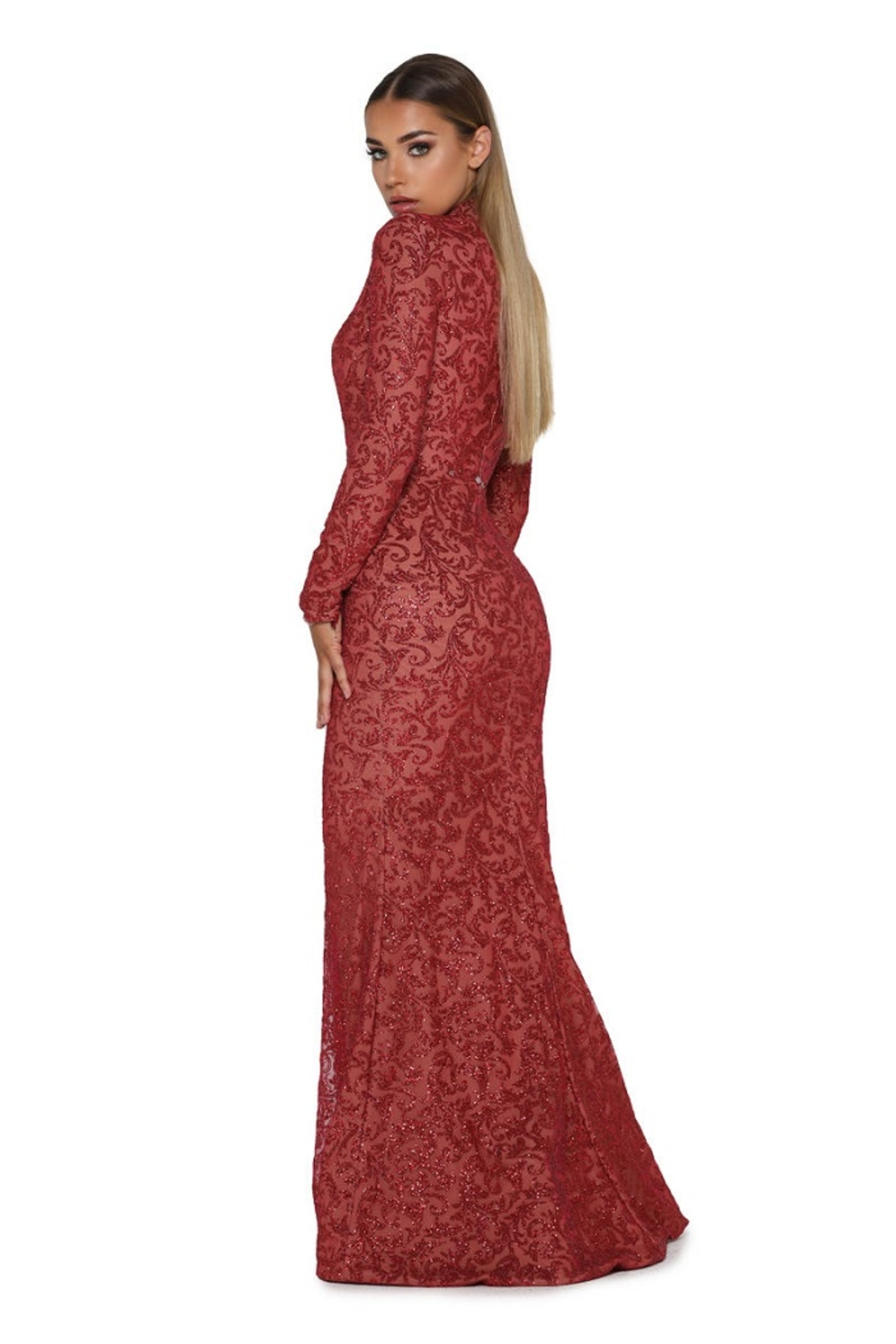 PORTIA AND SCARLETT Red Long Sleeve Glitter Long Formal Dress With Detachable Train - Back Cropped Image