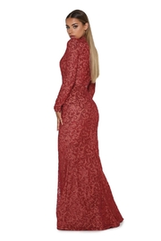 PORTIA AND SCARLETT Red Long Sleeve Glitter Long Formal Dress With Detachable Train - Back cropped