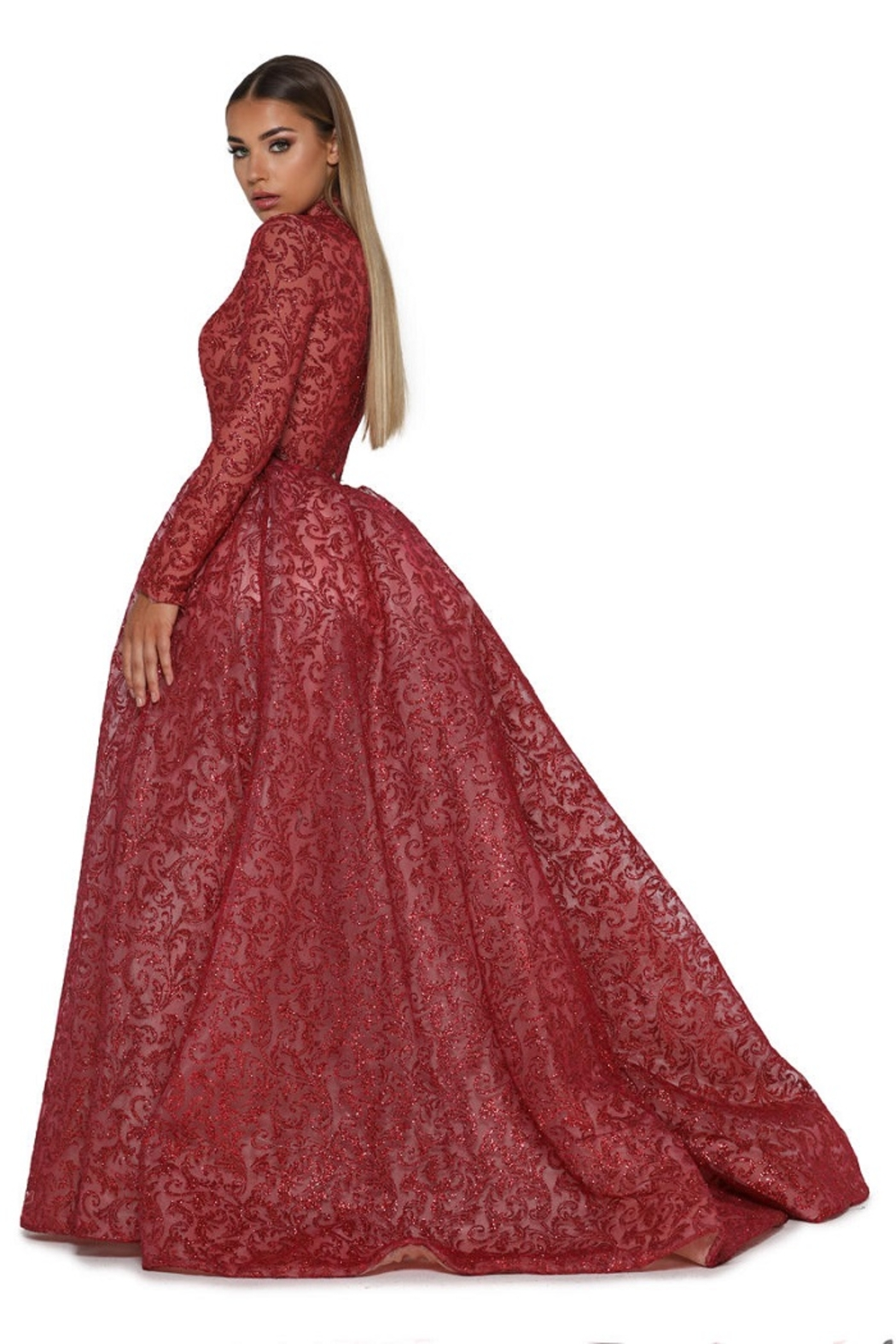PORTIA AND SCARLETT Red Long Sleeve Glitter Long Formal Dress With Detachable Train - Front Full Image