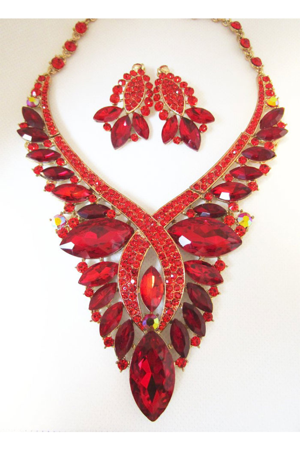KIMBALS Red Multi-Stone Necklace Set In Gold Settingx - Main Image