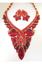 KIMBALS Red Multi-Stone Necklace Set In Gold Settingx - Front cropped