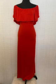 Ninexis Red Off Shoulder Maxi Dress - Front full body