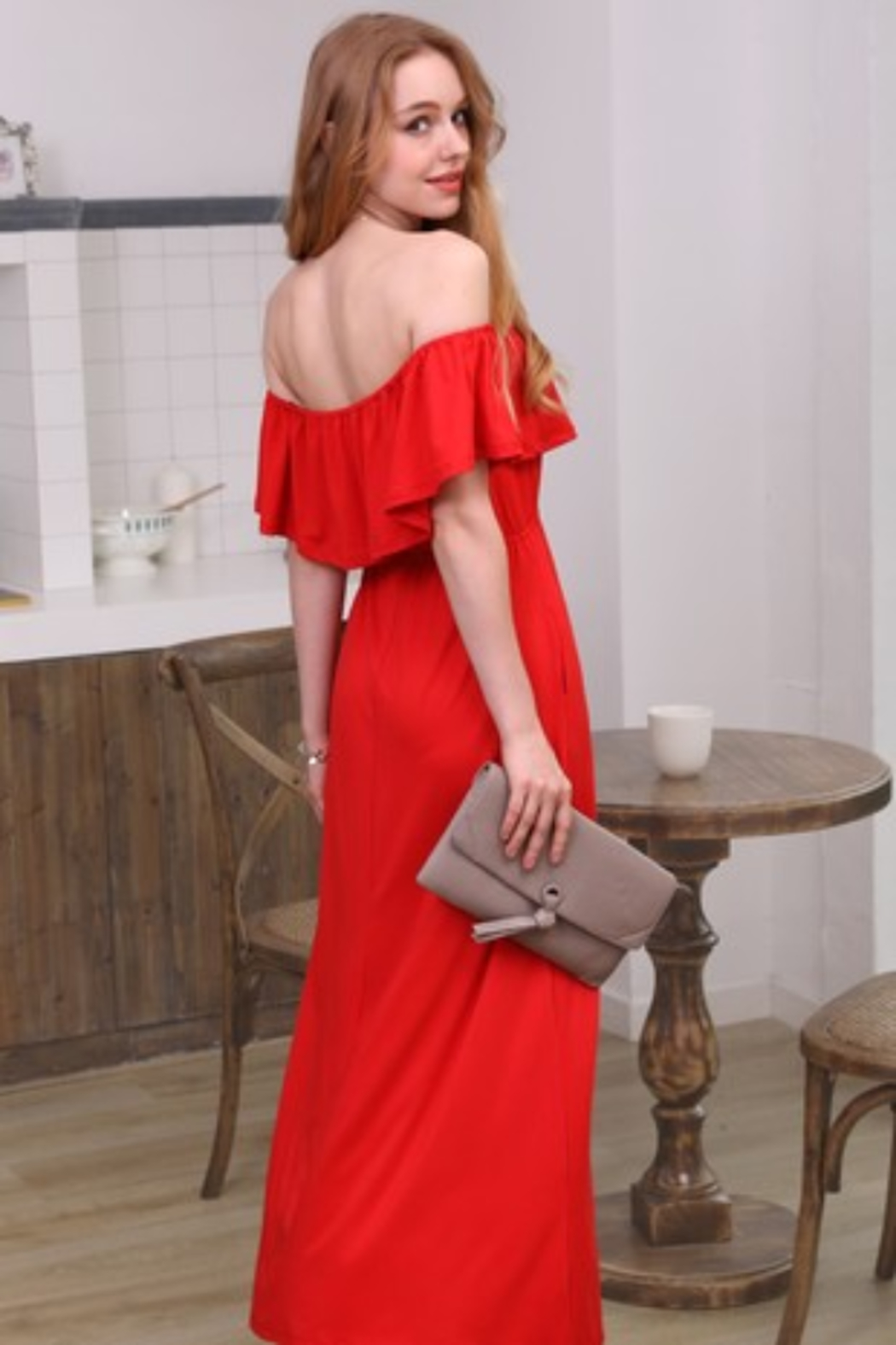 Ninexis Red Off Shoulder Maxi Dress - Front Cropped Image