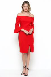 Esley Red Off the Shoulder Bell Sleeve Dress - Product Mini Image
