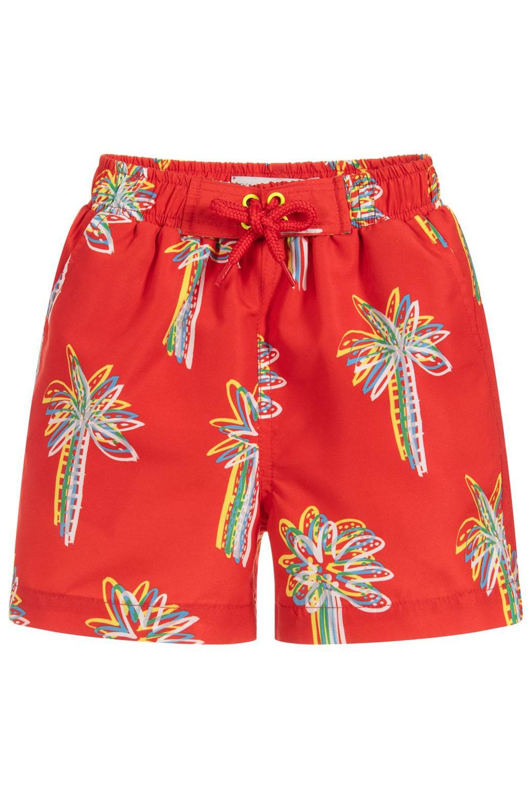 Stella McCartney Kids Red 'Palms' Swim-Shorts - Main Image