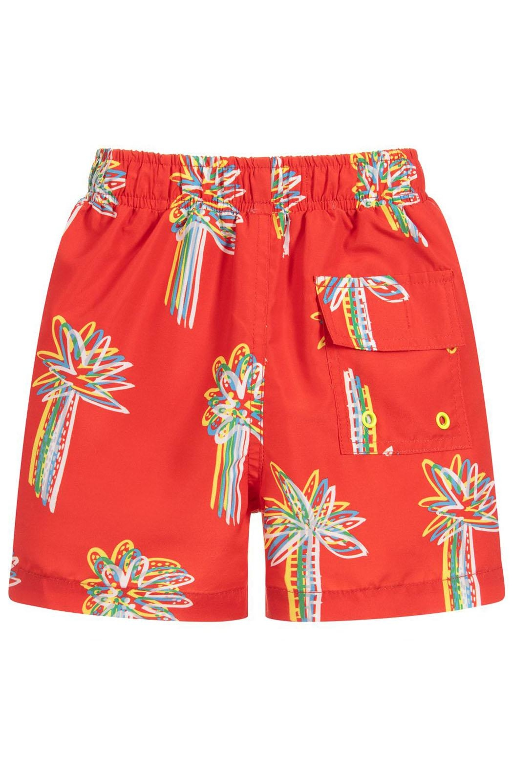 Stella McCartney Kids Red 'Palms' Swim-Shorts - Side Cropped Image