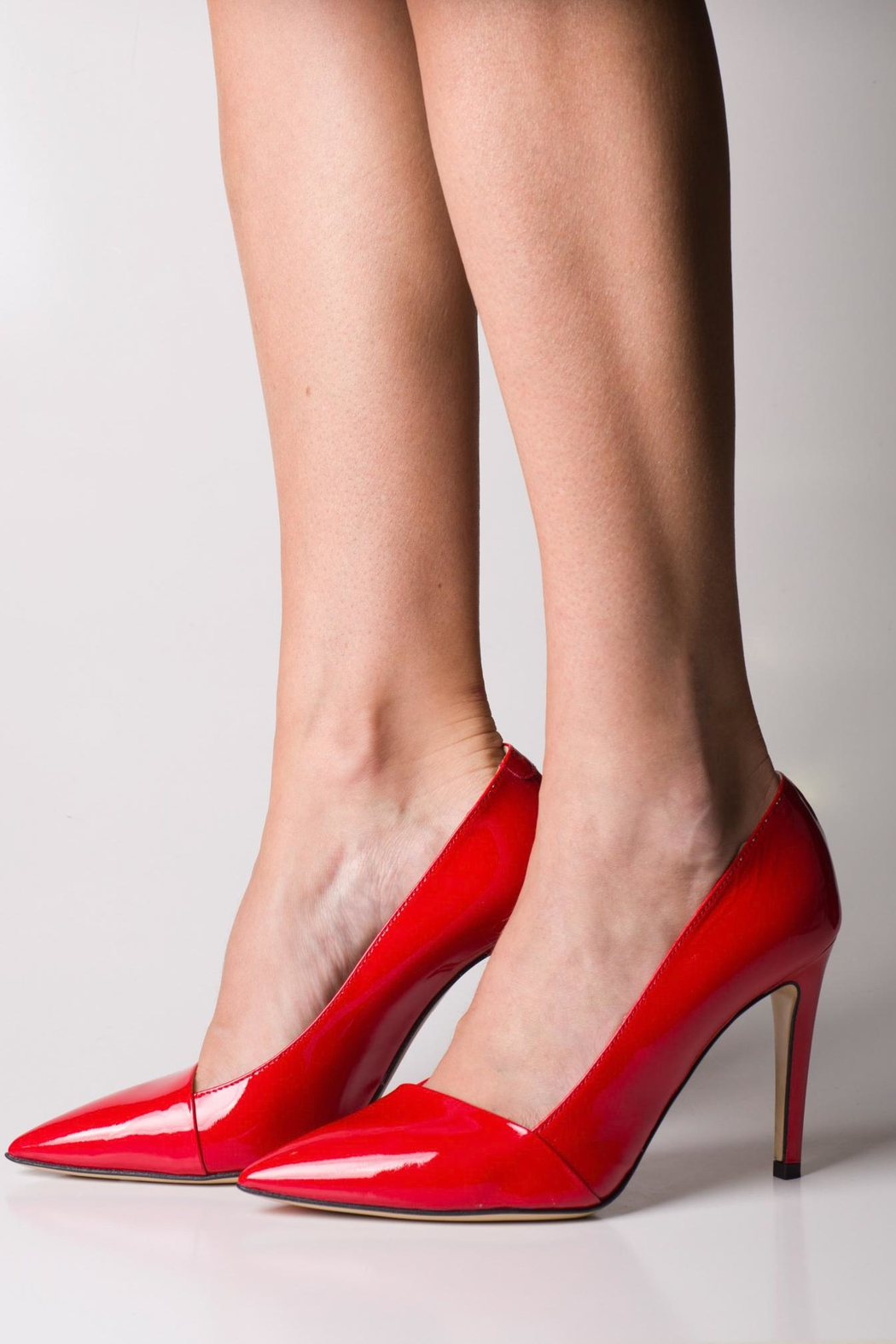 Lady Doc Red Patent Pumps - Back Cropped Image