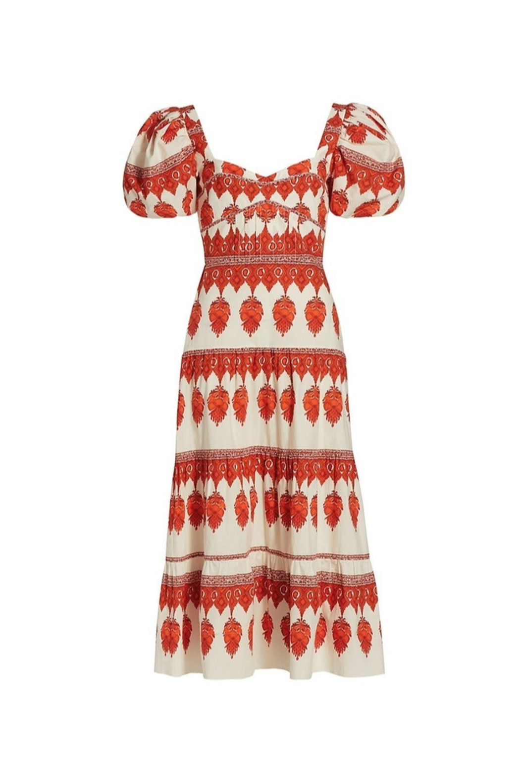Johanna Ortiz Red Pepper Puff Sleeve Midi Dress - Side Cropped Image