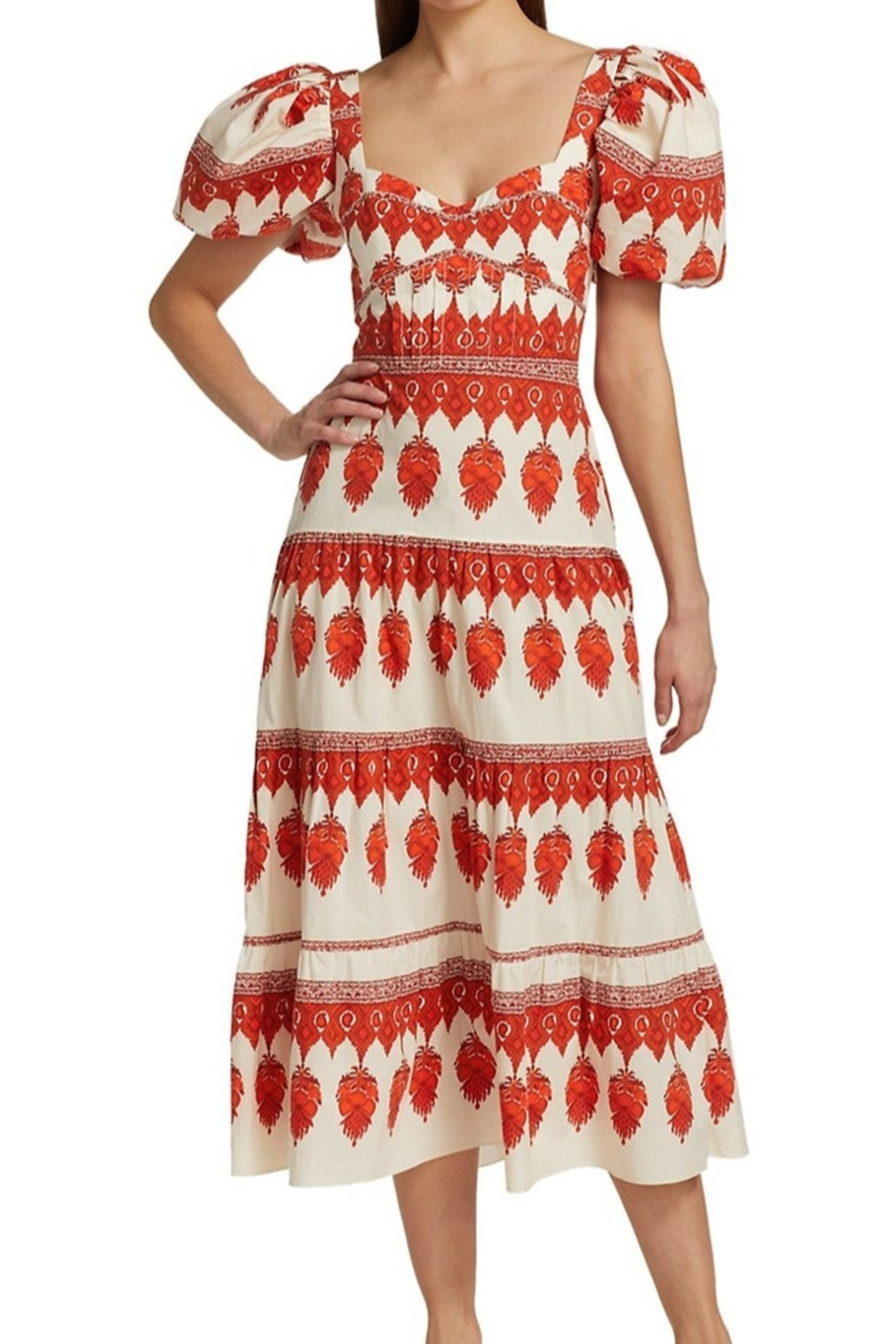 Johanna Ortiz Red Pepper Puff Sleeve Midi Dress - Front Cropped Image