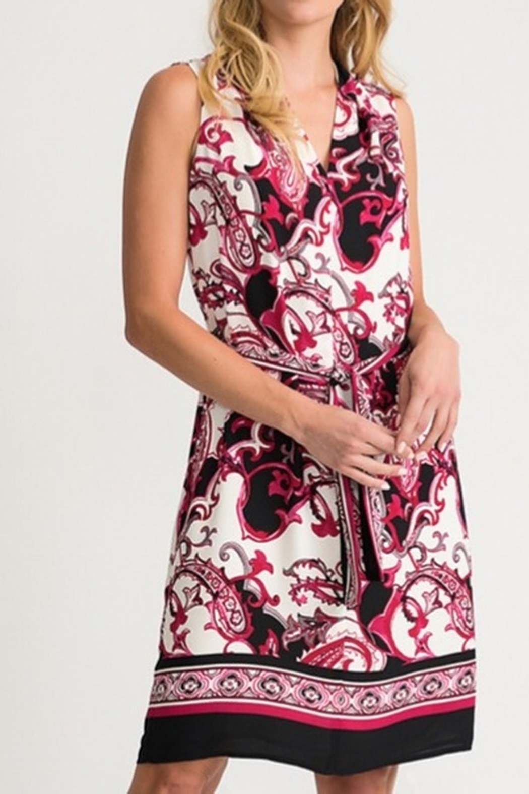 Joseph Ribkoff Red/pink abstract print dress - Front Cropped Image