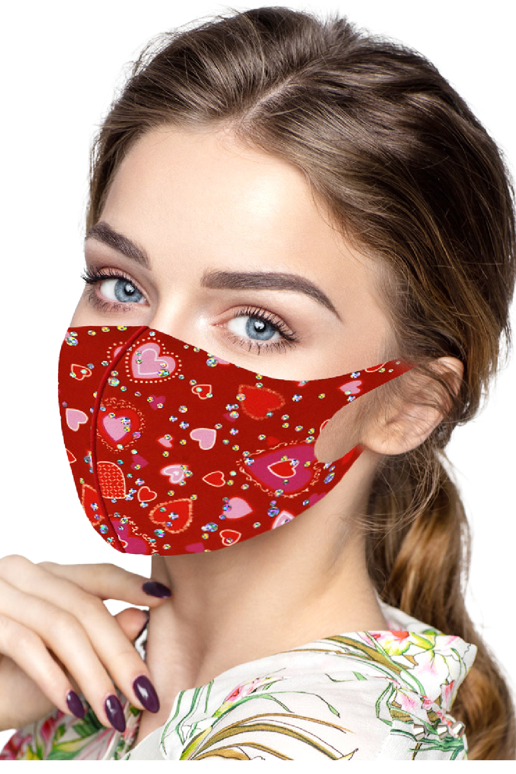 Petunias of Naples Red/Pink Heart Mask - Main Image