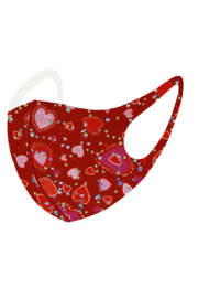 Petunias of Naples Red/Pink Heart Mask - Front full body